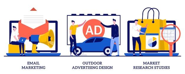 Email marketing, design pubblicitario esterno, concetto di studio di ricerche di mercato con persone minuscole. insieme dell'illustrazione della campagna di marketing del prodotto. esigenza del cliente, gestione del marchio, metafora del focus group.
