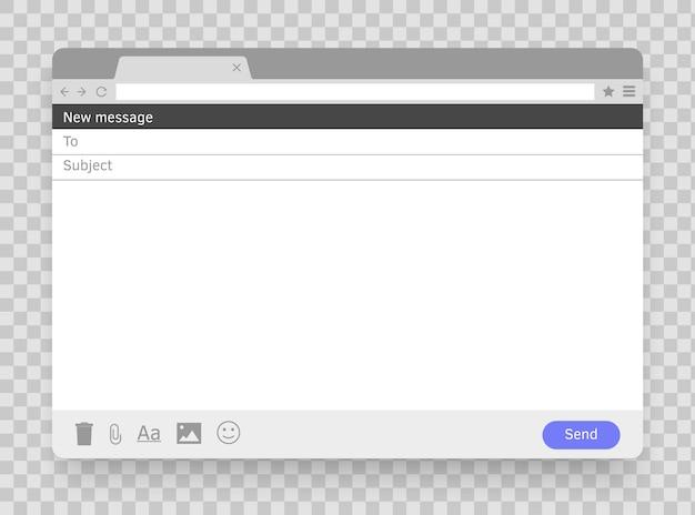 Messaggio di posta elettronica finestra vuota posta elettronica cornice vuota posta mock up finestra modello pagina della schermata del browser