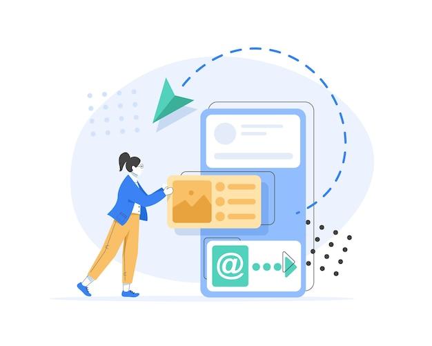E-mail e messaggistica, campagna di email marketing, processo di lavoro, nuovo messaggio di posta elettronica