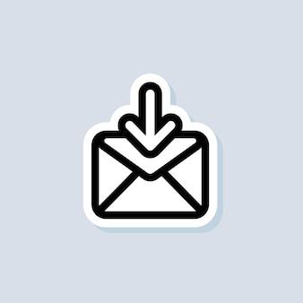 Adesivo e-mail e messaggistica. busta con freccia in basso. icona di posta elettronica. logo della newsletter. campagna di email marketing. vettore su sfondo isolato. env 10.
