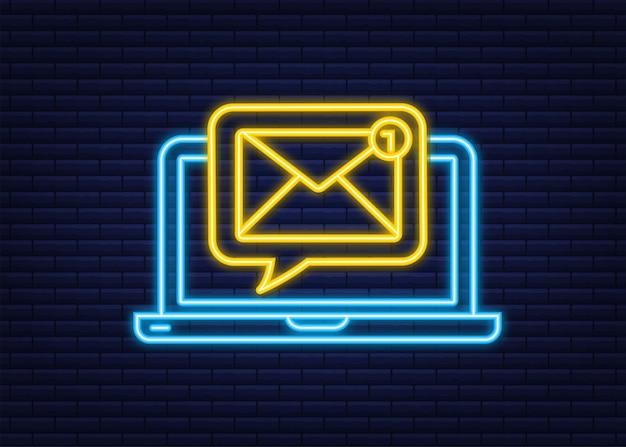 Concetto di notifica e-mail. icona al neon. nuova email. marketing via email. campanello di notifica. illustrazione vettoriale.