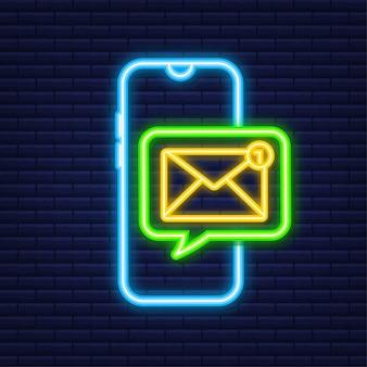 Concetto di notifica e-mail. icona al neon. nuova email sullo schermo dello smartphone. illustrazione di riserva di vettore.