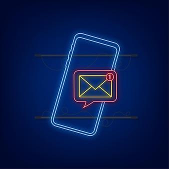Concetto di notifica e-mail icona al neon nuova e-mail sullo schermo dello smartphone