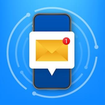 Concetto di notifica e-mail. nuova email sullo schermo dello smartphone. illustrazione di riserva di vettore.