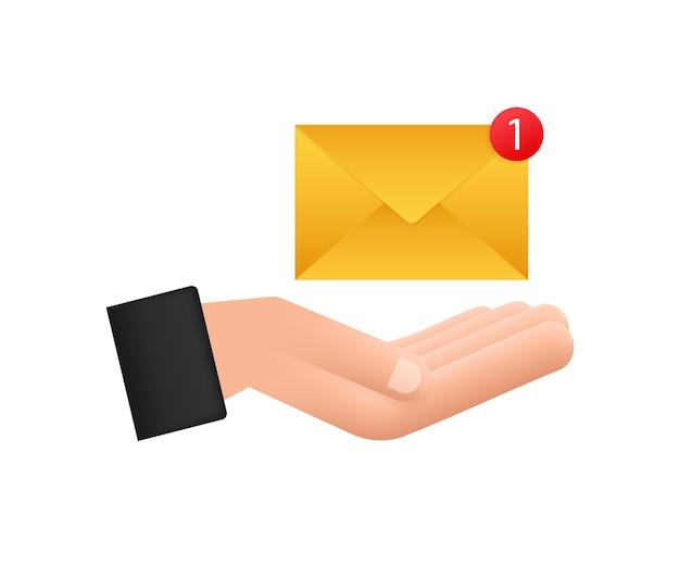 Concetto di notifica e-mail con le mani. nuova email. illustrazione vettoriale.