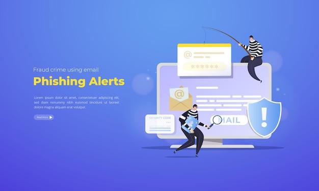 Concetto di illustrazione di avvisi di phishing e-mail