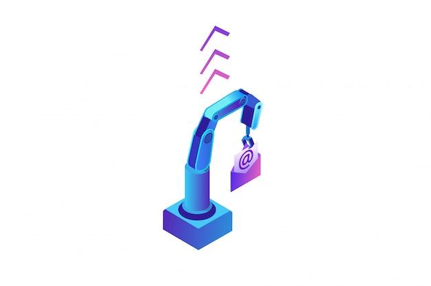 Email robotica automazione, braccio robotico che tiene il messaggio
