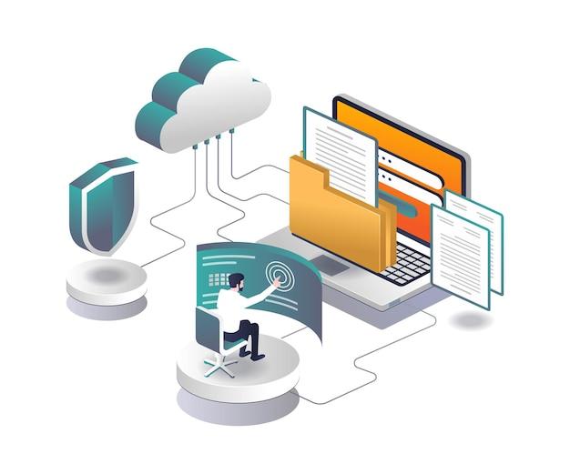 Computer di sicurezza e-mail e server cloud