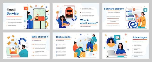 Concetto di servizio di posta elettronica per modello di diapositiva di presentazione persone che inviano e ricevono annunci di lettere
