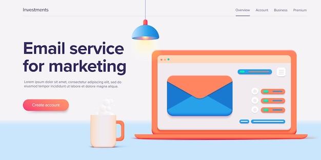 Illustrazione di progettazione del servizio di posta elettronica