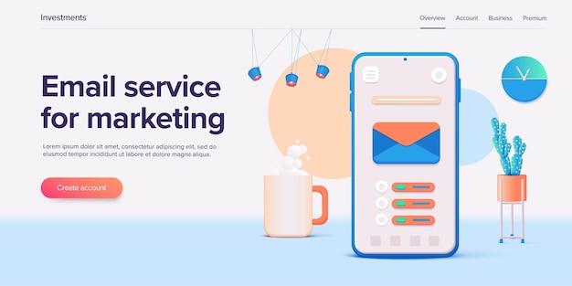 Servizio di posta elettronica illustrazione messaggio di posta concetto come parte del marketing aziendale