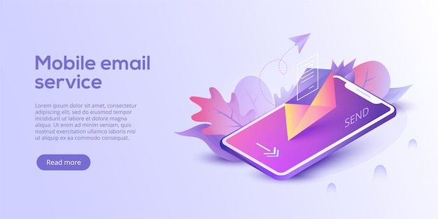 Illustrazione vettoriale isometrica del servizio di posta elettronica