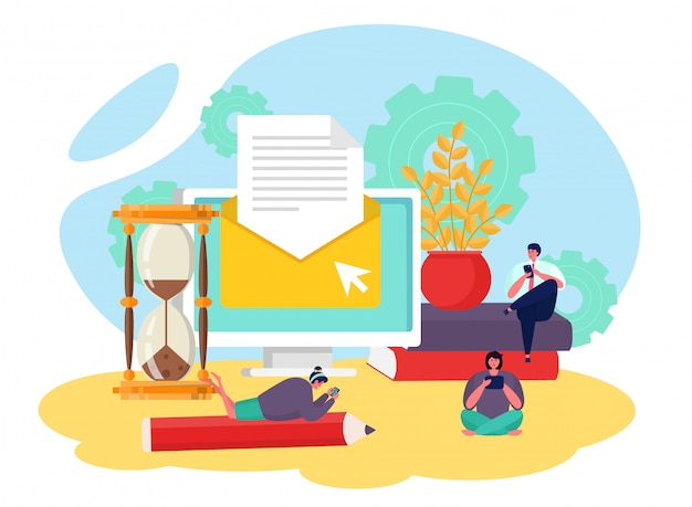 Servizio e-mail, invia lettera illustrazione. mail online, newsletter e web online per computer aziendali.