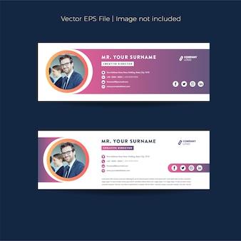 Design della firma e-mail o piè di pagina dell'e-mail o copertina dei social media personali
