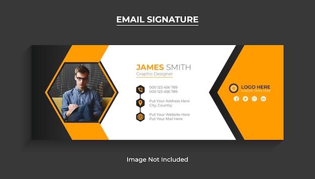 Firma e-mail o piè di pagina e-mail modello e design della copertina dei social media vettore premium