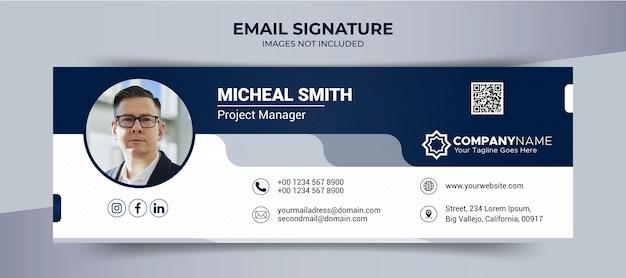 Piè di pagina firma e-mail e modello di banner per social media