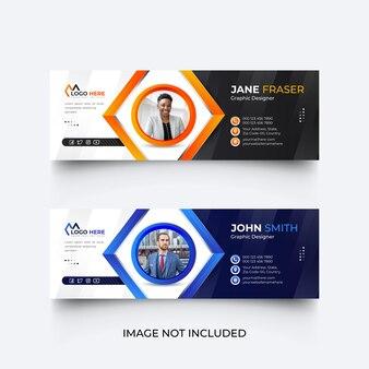 Modello di firma e-mail o piè di pagina e-mail e set di modelli di copertina dei social media