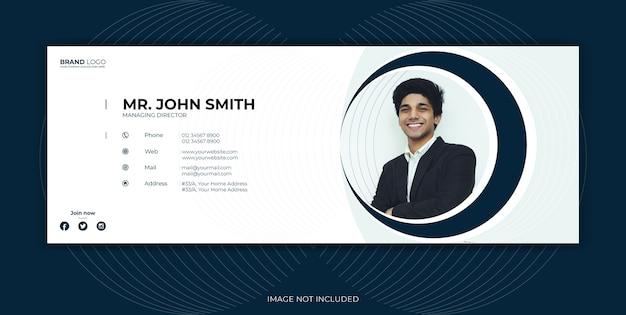 Modello di firma e-mail per copertina di social media o piè di pagina per e-mail.