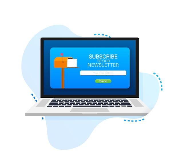 Iscriviti via e-mail sul modello di vettore della newsletter online dello schermo del laptop