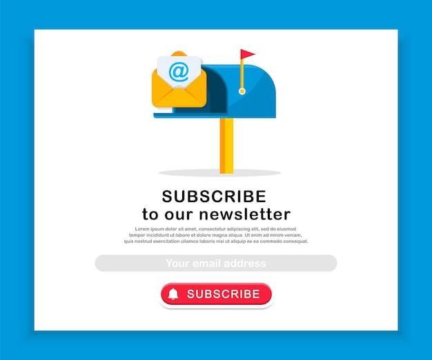 Modello di iscrizione e-mail con casella di posta e busta iscrizione alla newsletter