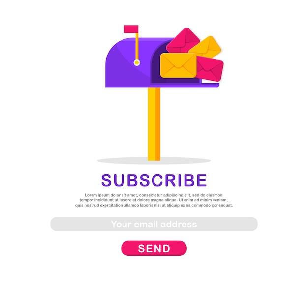 Modello di iscrizione e-mail con cassetta postale e buste iscriviti alla newsletter