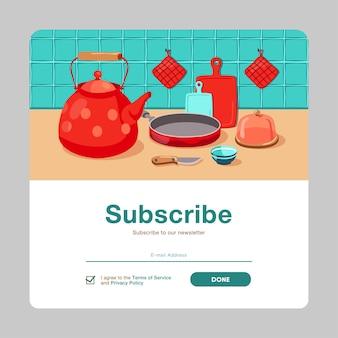 Progettazione di abbonamento e-mail con vari utensili da cucina