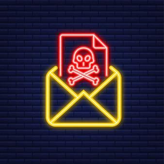 Virus della posta elettronica. icona al neon. schermo del computer. virus, pirateria, hacking e sicurezza, protezione. illustrazione di riserva di vettore.