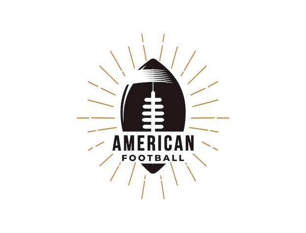 Emblema logo di sport di football americano con la palla
