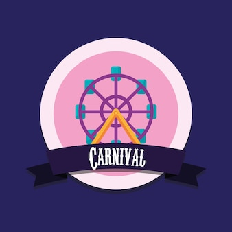 Emblema del concetto di carnevale con l'icona della ruota panoramica