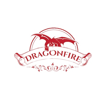 Emblema disegno lettera drago fuoco con colore rosso