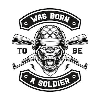 Emblema di un design t-shirt soldato gorilla.