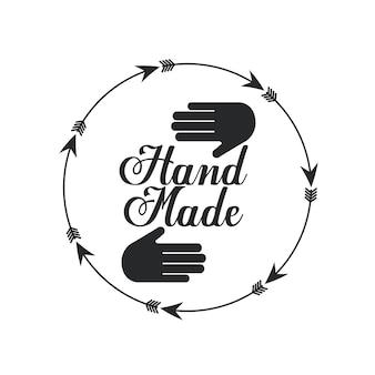 Emblema del concetto fatto a mano con la mano e l'icona della freccia