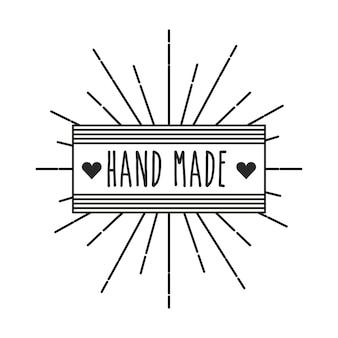 Emblema del concetto fatto a mano con l'icona del cuore