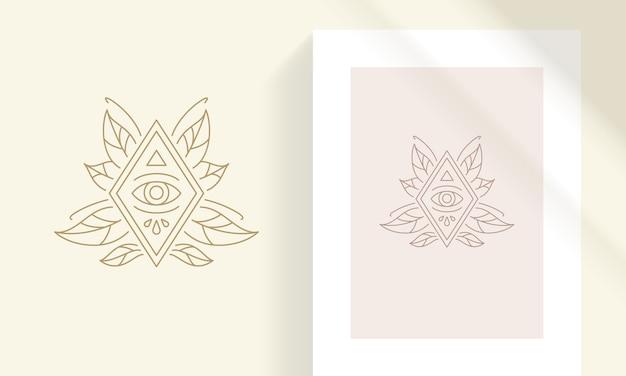 Emblema di rombo esoterico line art con occhio umano astratto circondato da eleganti foglie di piante