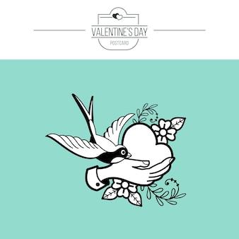 L'emblema dell'amore. cuore e uccello.