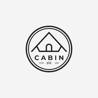 Emblema della cabina minimalista o del logo vettoriale del cottage, illustrazione del design di arte della linea di casetta in legno