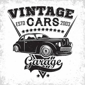 Emblema della riparazione di muscle car e dell'organizzazione dei servizi, francobolli di stampa di garage per auto retrò