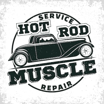 Emblema della riparazione e dell'organizzazione dei servizi di muscle car