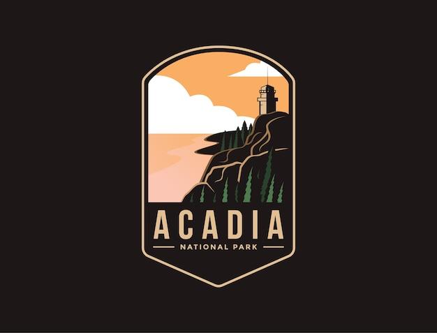 Emblema patch logo illustrazione del parco nazionale di acadia