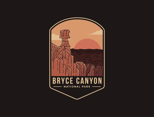 Emblema logo patch illustrazione del parco nazionale di bryce canyon