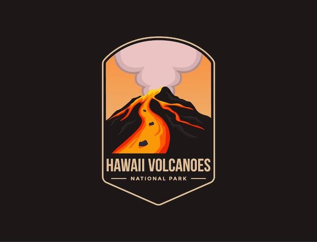 Emblema patch logo illustrazione del parco nazionale dei vulcani delle hawaii