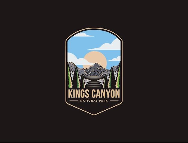 Illustrazione del logo della toppa dell'emblema del kings canyon national park
