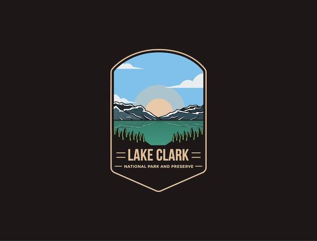 Illustrazione del logo della toppa dell'emblema del parco nazionale e riserva del lago clark