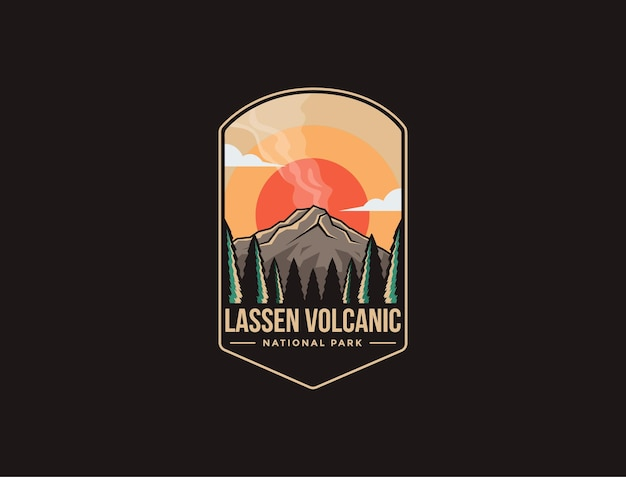 Illustrazione del logo della toppa dell'emblema del parco nazionale vulcanico di lassen
