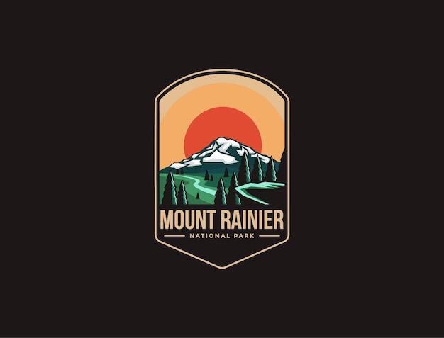 Illustrazione del logo della toppa dell'emblema del parco nazionale del monte rainier