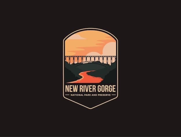 Illustrazione del logo della toppa dell'emblema del parco nazionale e della riserva di new river gorge su sfondo scuro