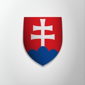 Emblema della slovacchia. 17 luglio. illustrazione vettoriale. croce patriarcale bianca su scudo rosso. blasone, stemma. simbolo nazionale. modello di progettazione grafica.