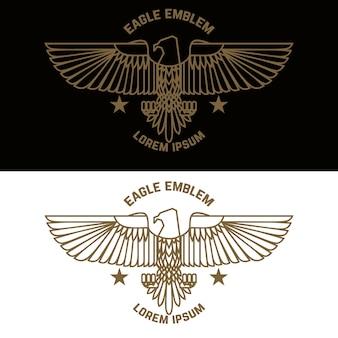 Modello di emblema con aquila in stile incisione