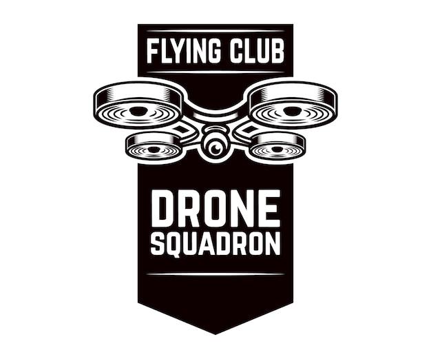Modello di emblema con drone volante.