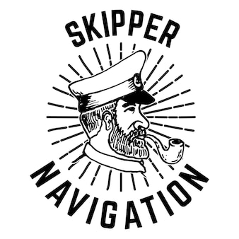 Modello di emblema con testa di capitano disegnata a mano.